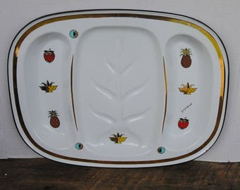 Vintage Georges Briard Enamel Divided Serving Tray Fruit Themed