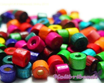 100x Small Wooden Cylinder Beads (5 mm x 5 mm) - Mixed Colours