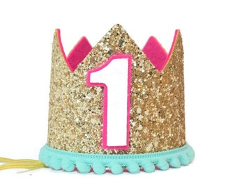 First Birthday Crown | Girl First Birthday Crown | Gold Pink Birthday Crown | Birthday Girl Outfit | 1st Birthday Crown | Girl Party Hat