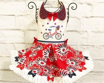PATRIOTIC:  Red, White & Blue Daisy Cute Dog Dress