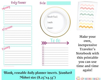 Reusable 30 Page Daily Planner Insert - Blank Traveler's Notebook - Daily Insert - Monthly Planner - Instant Download - Daily Planner