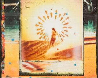 GLASSED, LAUREN HILL Noosa Slide, 4x4 and Up, Hand Painted, re-collaged artwork, wood panel, ocean, art, Australia, wall art, gift