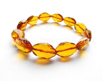 Faceted Cognac Color Baltic Amber Bracelet For Adults
