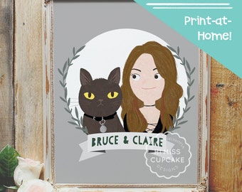 Custom Couple Portrait // Valentine Day Gift Personalized Gifts For Couples Illustration Family Portrait (Digital File PDF)