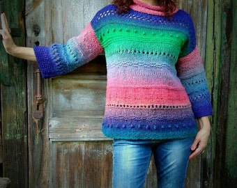 Wool Chunky Sweater, Colorful Sweater, Rainbow Sweater, Turtleneck Sweater, Wife Birthday Gift, Grunge Knit Sweater, Wife Statement Gift