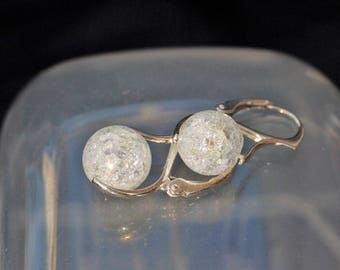 Vintage Silver Crushed Glass Ball Earrings