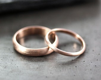 Rose Gold Wedding Set, Brushed Men's and Women's His and Hers 4mm and 2mm Half Round  Recycled 14k Rose Gold Wedding Ring Couple's Set