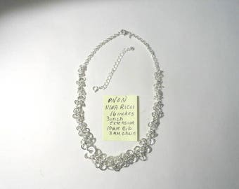 1980s Avon Nini Ricci Silver Tone Bib Style Necklace 16 Inches with 3 inch Extender