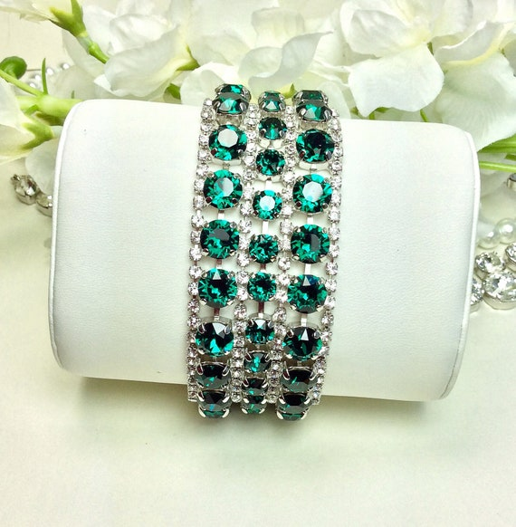 Swarovski Triple Row Emerald & Crystal Bracelet - Absolutely Stunning Bridal Cuff -Designer Inspired - FREE SHIPPING