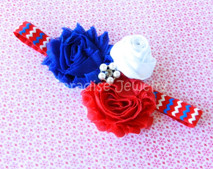 Featured listing image: 4th Of July Patriotic Bow Baby Headband Shabby Chic Flower Bow Hairband On Fold Over Elastic Baby / Girls Fourth of July Outfit