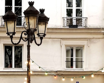 Paris Photography Twinkle Lights Paris Print Extra Large Wall Art Prints, Paris Wall Decor, Christmas Lights, Holiday Gift , String Lights