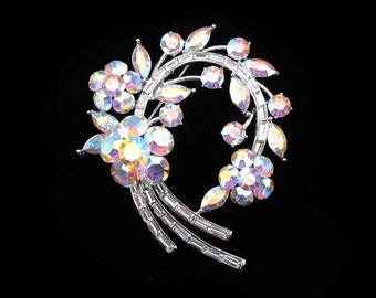 Crystal Large Flower Wreath Brooch Pin Silver Tone Clear Clear AB