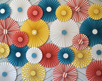Vintage Circus, Carousel,  Inspired Paper Rosettes, Set of 24 (TWENTY FOUR)
