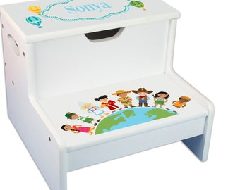 Personalized Small World Childrens Step And Storage Stool