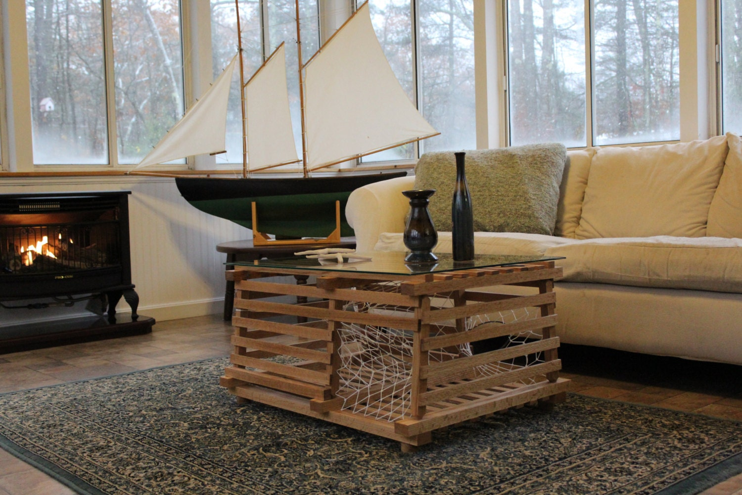 Maine Wooden Lobster Trap Finished Coffee Table