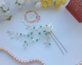 Bridal Hair pin,Crystal Hair pin, Wedding Hair Accessories, Bridal Hair Pin, Bridal Hair Accessories, Silver hair pin, Hair vine.rose gold