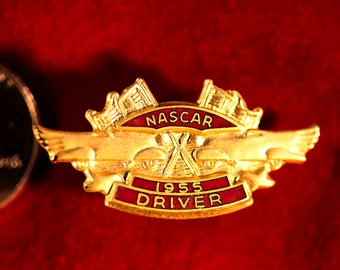NASCAR DRIVER 1955, Gold with Red Hard Fired Enamel