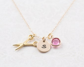 Scissors necklace, gold filled chain, personalized jewelry, swarovski birthstone, initial necklace, hairdresser gift, dressmaker gift