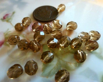 50 Vintage 6mm Topaz Brown Faceted Glass Beads C35