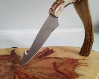 "Deer Antler Guthook Knife - ""Ghost Edition"" - Leather Sheath"