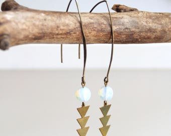 Triangle, brass and Moonstone earrings