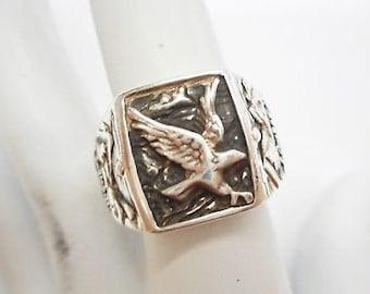 Vintage Genuine Sterling Silver Eagle Men's Band Ring Sz 8.75 #4415