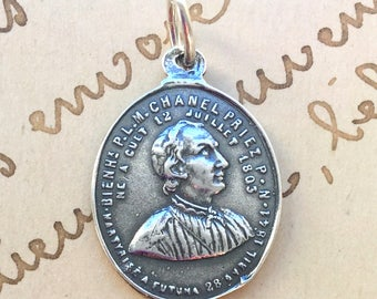 St Peter Chanel Medal - Patron of Oceania - Sterling Silver Antique Replica