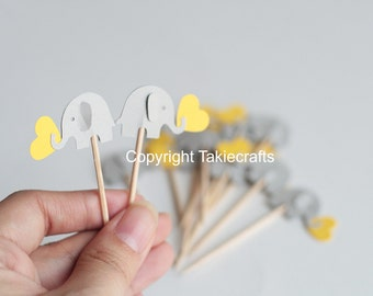 24 elephant  cupcake toppers Light gray/yellow  heart