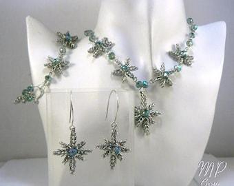 Parure Frozen - Collier, Boucles d'oreille et Bracelet - wire wrapping