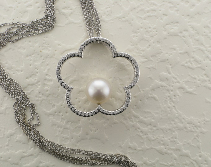 Large White Pearl Pendant, Pearl and Diamond Necklace, Vintage Pearl Necklace, June Birthstone Necklace, Pearl Flower,  Single Pearl Pendant