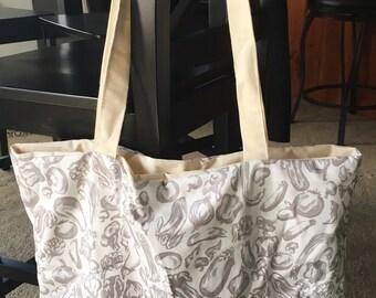 Neutral Gray Kitchen Vegetable Canvas Market Bag