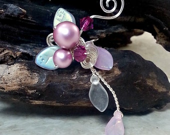 Pink Elven Ear Cuff Climber No Piercing, Fantasy Boho Ear Vine, Fairy Jewelry Gift