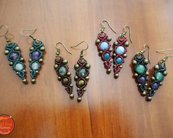 Macrame boho earrings with gemstones, Macrame Earrings, Macrame Jewelry, bohemian Earrings, boho jewelry, Macrame Jewelry, tribal earrings