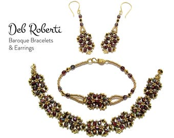 Baroque Bracelets & Earrings beaded pattern tutorial by Deb Roberti