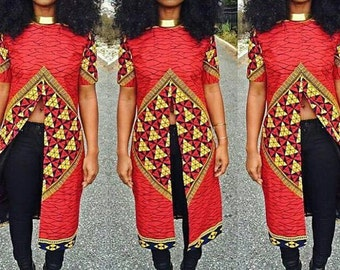 African Print Top// African wear, African print tops, Women tops,  Slitted top, Long top, Women blouses