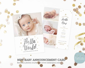 Newborn Baby Card Announcement - Photoshop Card template - AN009 - INSTANT DOWNLOAD