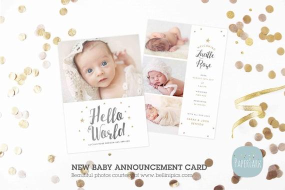 newborn baby card announcement photoshop card template