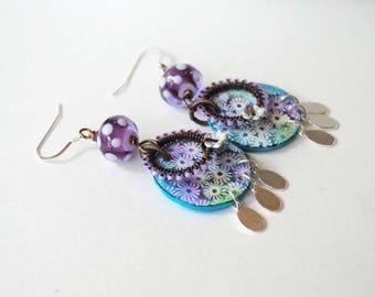 Purple Polka Dot Earrings, Flower Earrings, Lampwork Glass Bead Earrings, Polymer Clay Earrings, Wire Wrapped Earrings, Boho Chic Earrings