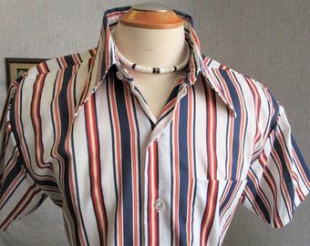 "60s 16-16 1/2"" King's Road Men's Big Collar S/S Shirt Blue Red Stripe"