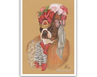 Boston Terrier Art Print - the Modiste - Dog Lover Gifts, Wall Art - Dog Portraits by Animal Century