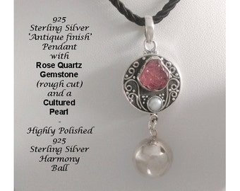 Unique Design Harmony Ball Necklace, Antique Finish 925 Silver Pendant with Rose Quartz Gemstone and Pearl and 925 Silver Harmony Ball  733