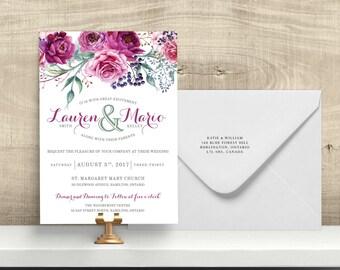 Wedding Invitation Set,Bridal Invitation, RSVP, Wedding, Floral, Berry, Sage, Printable, DIY