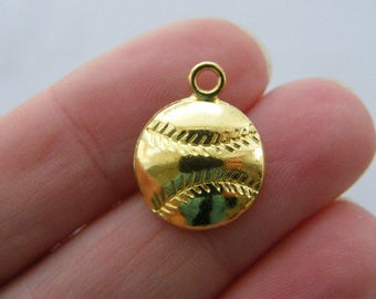 10 Baseball ball charms gold tone GC339