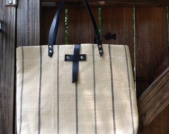 Linen and Leather Tote