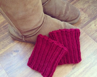 Boot Cuffs, hand knit solid color. Boot toppers, leg warmers! Ribbed boot cuffs, boot accessories. Gift for her