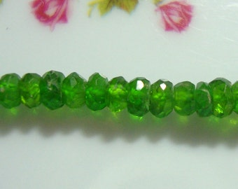 "3"" strand, 3.5 mm Chrome Diopside Faceted Rondelle Bead,Organic cut"