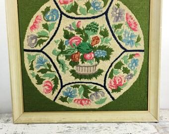 Very Large Vintage Framed Floral Crewel