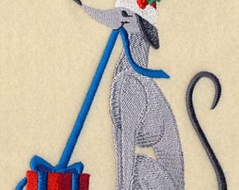 Christmas Canine Holly Christmas Dog Embroidered Flour Sack Hand/Dish Towel