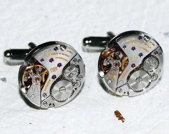 LONGINES Men Steampunk Cufflinks - GENUINE Luxury Swiss Silver High Grade Vintage Watch Movement - Men Steampunk Cufflinks Cuff Links Gift
