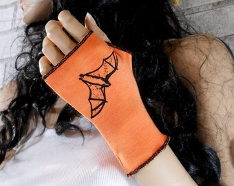 Halloween Bat Short Fingerless gloves, Short arm Warmers, dyed orange or custom colors